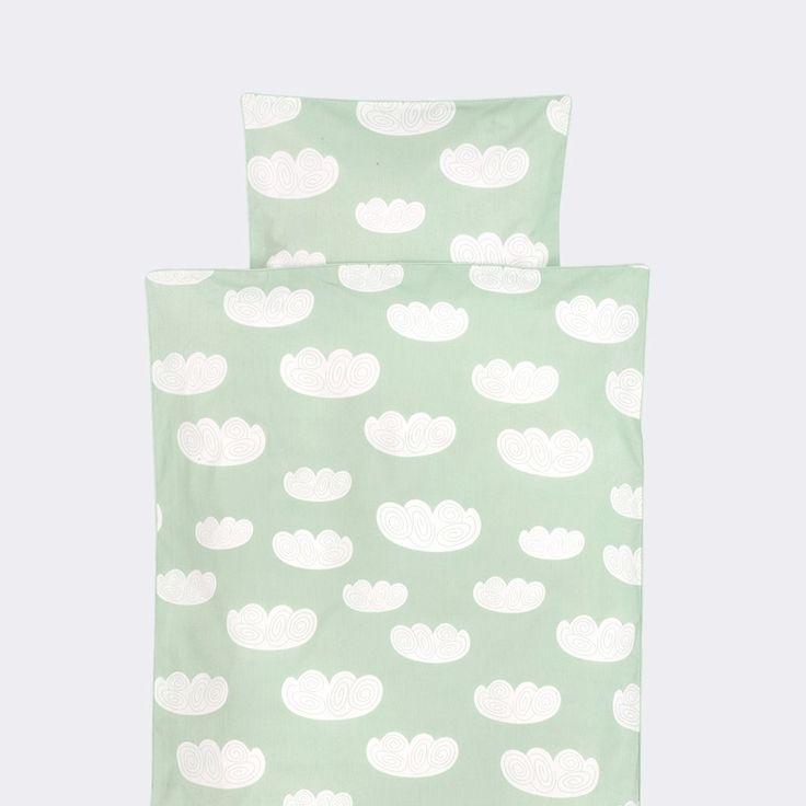 Sengetøj økologisk junior- Cloud Bedding Mint fra ferm LIVING   Lærke og Lillebror