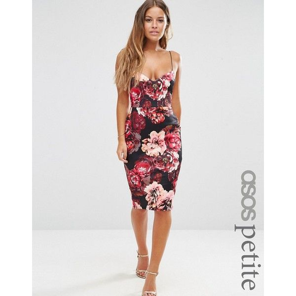 ASOS PETITE Floral Scuba Deep Plunge Midi Dress (43.830 CLP) ❤ liked on Polyvore featuring dresses, multi, petite, petite midi dress, bodycon dress, asos dresses, floral print dress and v neck cami