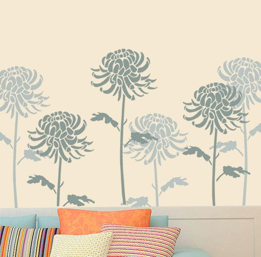Chrysanthemum Stencil, Floral Flower stencil,  Painting stencils, Large wall stencil, Paint any surface, reusable stencils sizes XS-XL