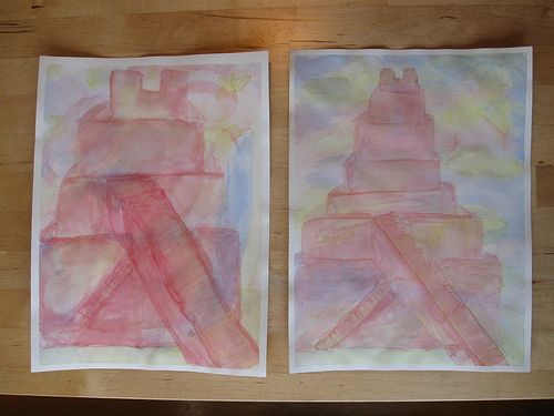 Waldorf ~ 5th grade ~ Ancient Mesopotamia ~ Ziggurat ~ veil painting