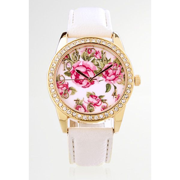 Avenue Embellished Floral Faux Leather Strap Watch ($25) ❤ liked on Polyvore featuring jewelry, watches, plus size, white, white jewelry, avenue jewelry, stainless steel wrist watch, bezel jewelry and floral jewelry
