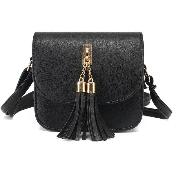 SheIn(sheinside) Black Tassel Embellished Flap Bag ($13) ❤ liked on Polyvore featuring bags, handbags, shoulder bags, black, embellished purses, tassel handbag, tassel purse, flap bag and embellished handbags