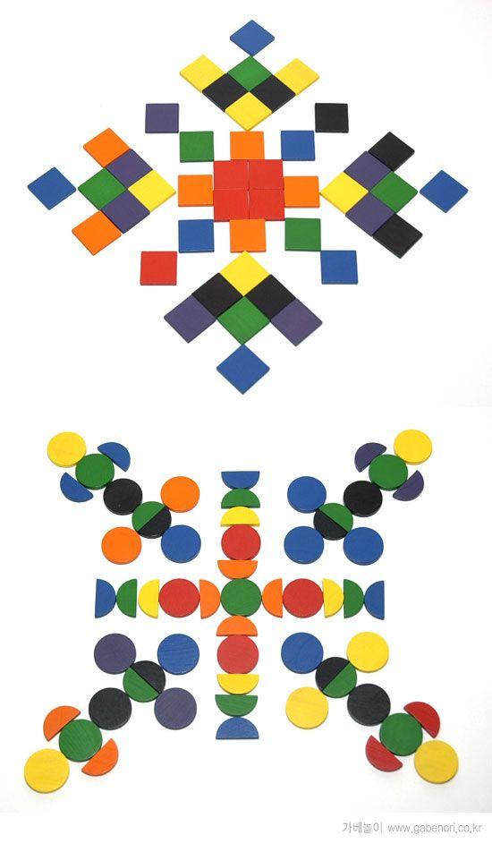 Mozaïek voor kleuters 3 Mandala bzw. Mosaik mit den geometrischen Formen zum Legen der Spielgabe 7 nach Froebel