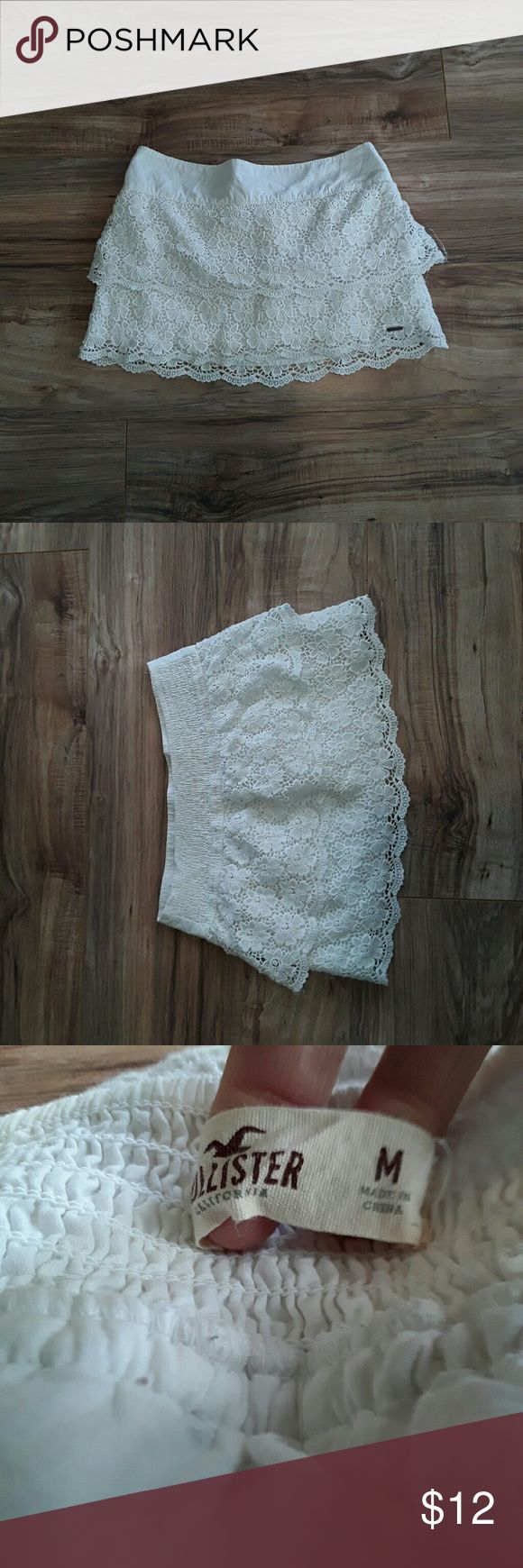 Lace hollister skirt White lace hollister skirt in excellent condition size medium Hollister Skirts Mini