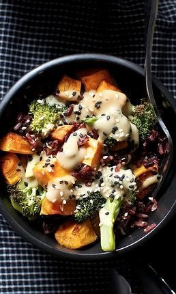 Miso sweet potato and broccoli bowl (veganize: substitute honey with vegan sweetener)