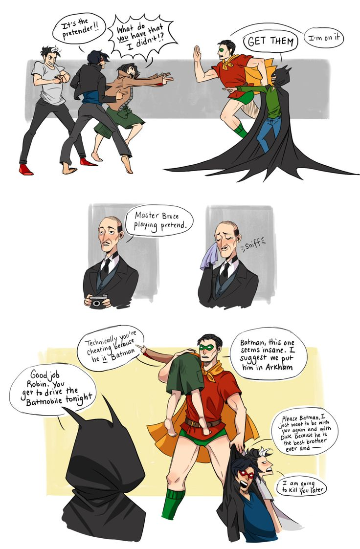 What an unexpected trilogy. Also, I was going to put Bruce in something resembling Tim's Robin suit, but Bruce in green undies. You just don't pass that opportunity up. First part | Second part