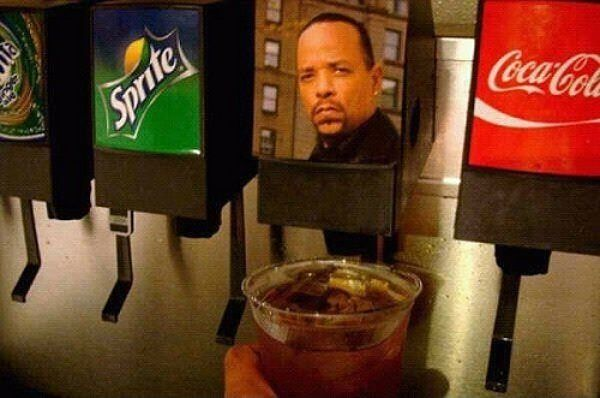 Ice T: Laughing, Sodas Fountain, Icedtea, Ice Cubes, Funny, Fast Food, Icet, Drinks, Ice Teas