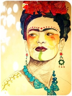 SHAMANESS - Frida Kahlo - Print from Painting - by Erica Herbert.