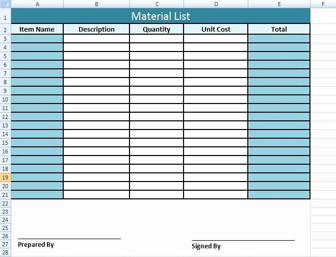 Material Submittal Form Template Luxury Get Material List Template In Excel Excel Templates Project Management Templates List Template