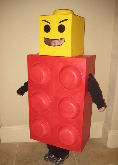 Get square as a Lego man. | 33 Super Easy Cardboard Box Halloween Costumes For Lazy People