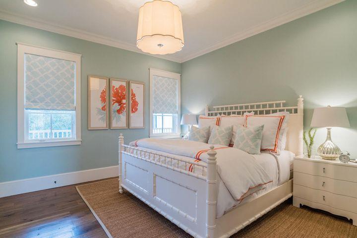 aqua and coral beach house bedroom