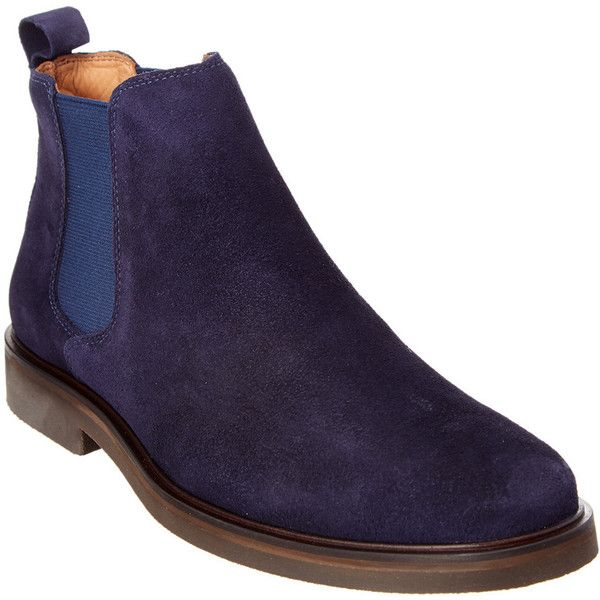 Donald Pliner Platon Suede Chelsea Boot ($150) ❤ liked on Polyvore featuring men's fashion, men's shoes, men's boots, blue, mens blue boots, mens suede chelsea boots, mens suede shoes, mens blue suede shoes and mens suede boots