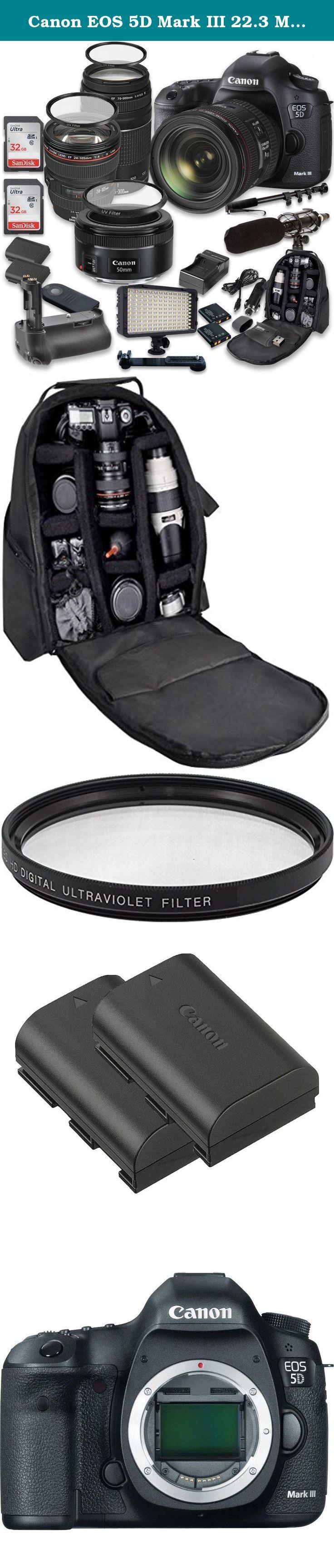 Canon EOS 5D Mark III 22.3 MP Full Frame CMOS Sensor Digital SLR Camera w/ EF 24-105mm f/4 L IS USM Lens + Tamron AF 70-300mm f/4.0-5.6 + EF 50mm f/1.8 STM Lens + Holiday Accessory Bundle. This 33rd Street Camera Digital SLR Camera Bundle Includes: Canon EOS 5D Mark III 22.3 MP Full Frame CMOS Sensor Digital SLR DSLR Camera Canon EF 24-105mm f/4 L IS USM Lens Tamron Auto Focus 70-300mm f/4.0-5.6 Di LD Macro Zoom Canon EF 50mm f/1.8 STM Lens Vertical Multi-Power Battery Grip 2 Pieces…