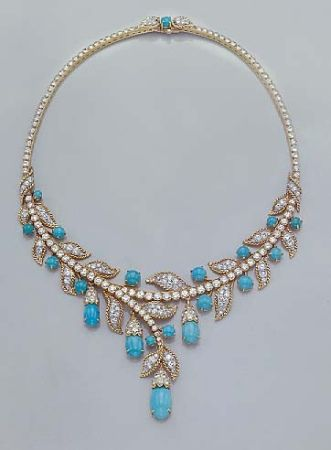 Turquoise and Diamond Necklace  The stylized swag necklace decorated with stylized diamond-set leaves bordered by rope-twist gold, embellished by round and oval cabochon turquoise blossoms, set througout out with 269 and 41 single-cut diamonds, approximately 25.00 cts. $20,000-$30,000