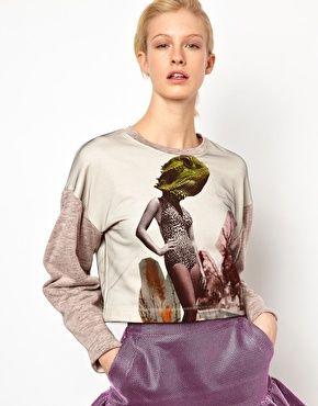 Louise Amstrup Chameleon Placement Sweat with Net Overlay Sweater