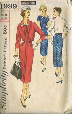 Vintage 50's One Piece Dress and Jacket Pattern    Dress pattern has low round neckline with contrasting detachable trim and bow.  Short kimono sleeves, right side of Dress laps over left and a row of stitching details center front.  Skirt back has center section with pleats at lower edge giving a panel effect.  Lined Jacket has three quarter length sleeves shawl collar.  View 1 Dress and Jacket are of the same fabric.  View 2 Dress and Jacket are of contrasting fabric.