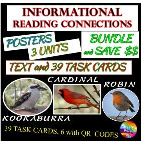 Grade / Year Level :: Primary Education :: Year 2 :: Reading Non-Fiction Informational Text and Task Cards BUNDLE BIRDS CARDINALS KOOKABURRA and ROBIN