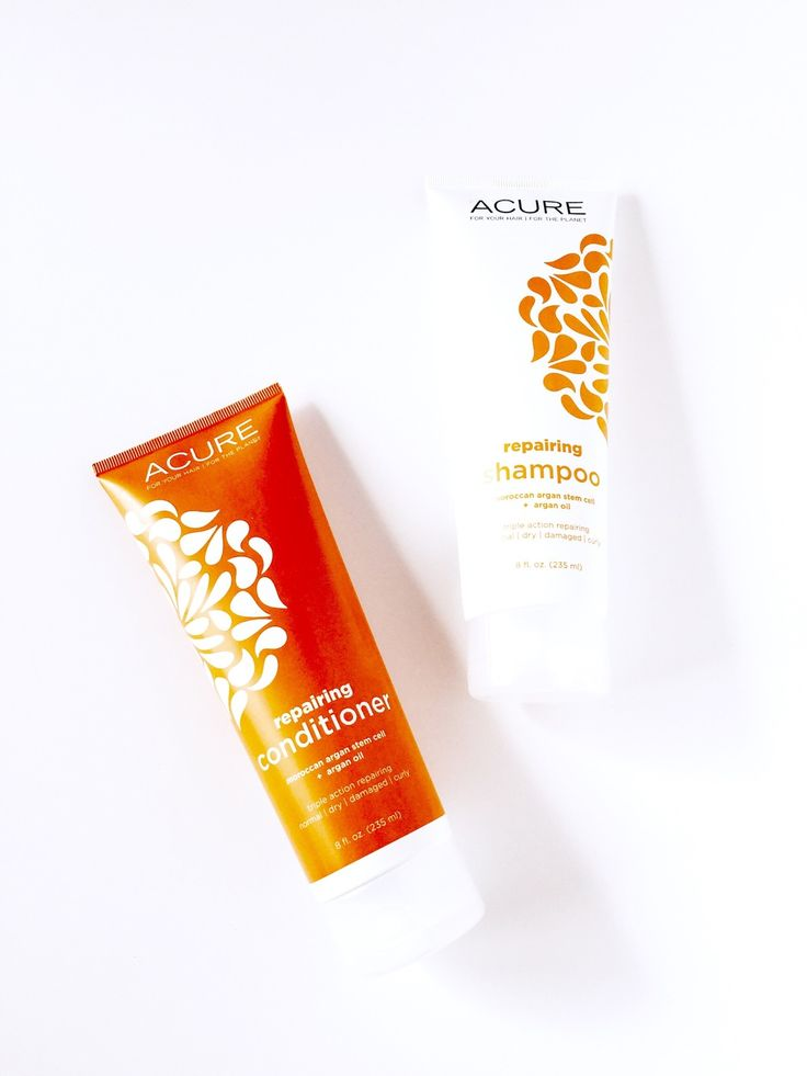 ACURE - organic argan oil shampoo and conditioner for your healthiest hair yet.  Shiny, soft, healthy, nourished tresses.