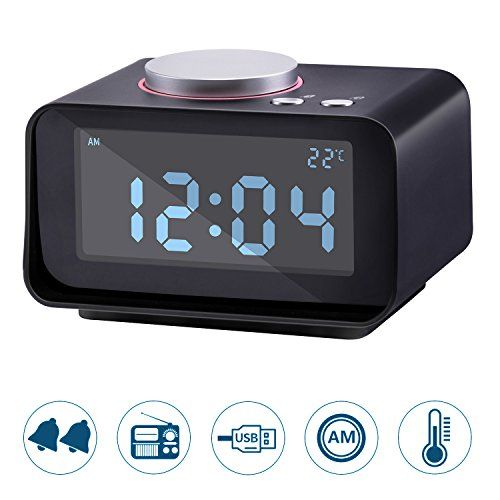 Lyker Digital Alarm Clock FM Radio Loud Alarm Clock Alarm Clock Radio for Heavy Sleepers with Dual Alarm ClockAUX in and Dual USB Charging PortsLCD Digit Display with DimmerRadio Alram Clock