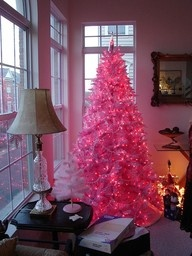 love this shade of pink, love christmas...breast cancer awareness tree, maybe add pink ribbons
