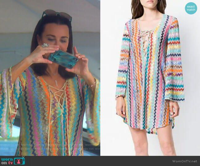 3f860c42dd Kyle's zig zag striped cover up on The Real Housewives of Beverly Hills.  Outfit Details