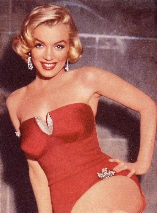 Marilyn Monroe in her sexy red bathing suit