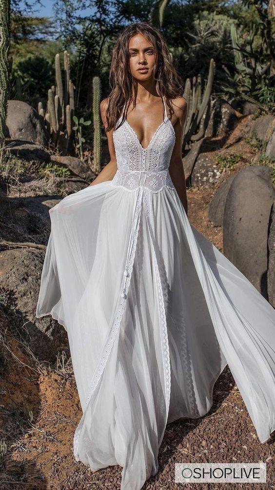 V-Ausschnitt ausgestelltes rückenfreies zweiteiliges Maxi-Kleid
