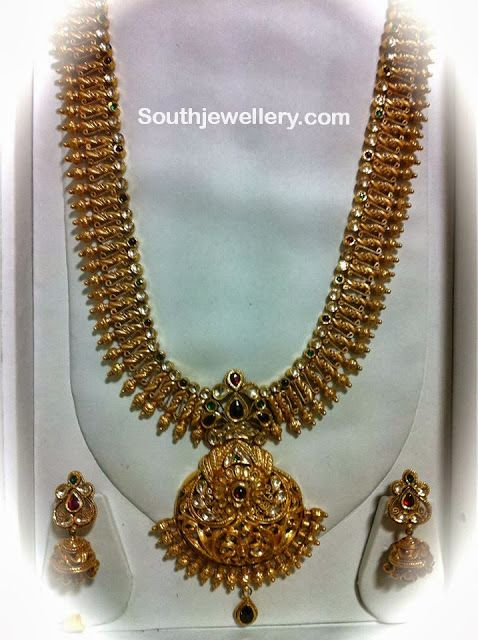 22 Carat Gold Antique Long Chain ~ Latest Jewellery Designs