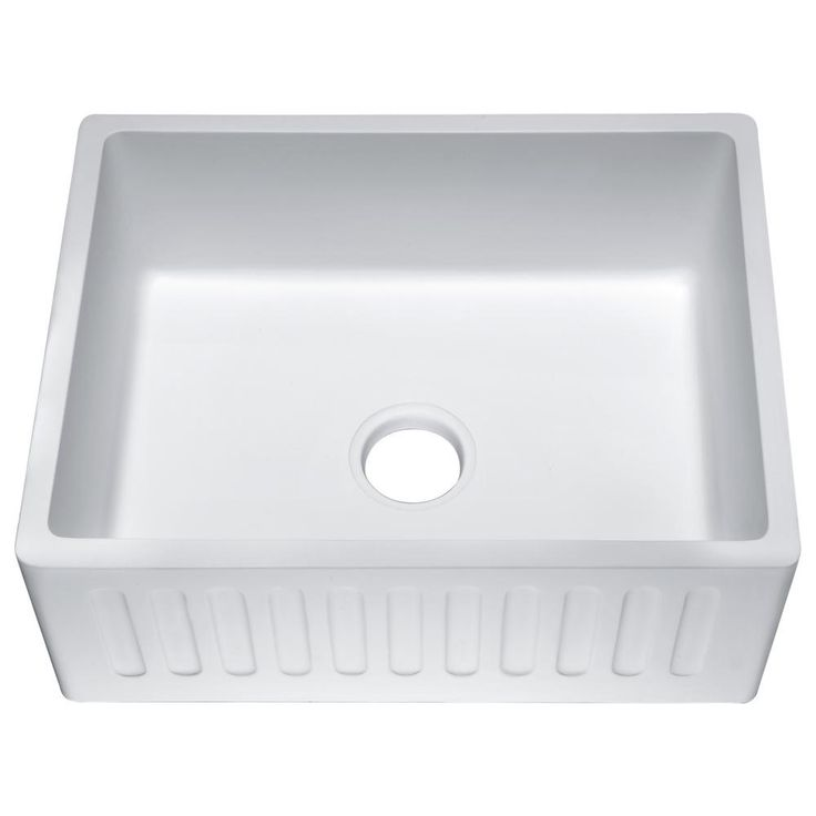 Roine Farmhouse Engineered Stone 24 in. Single Bowl Kitchen Sink in Matte White