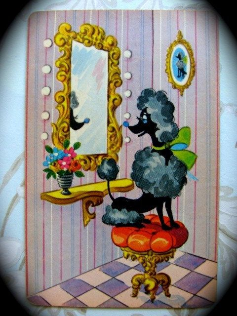 Vintage Black French Poodle Vanity Playing Cards by reginasstudio, $4.95