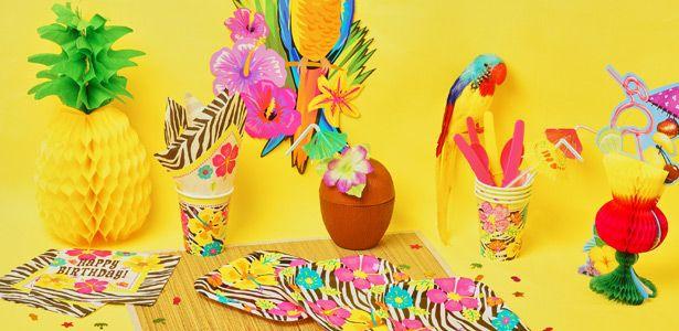 """Addobbi e decorazioni per feste a tema """"Ibisco zebrato"""" su VegaooParty"""