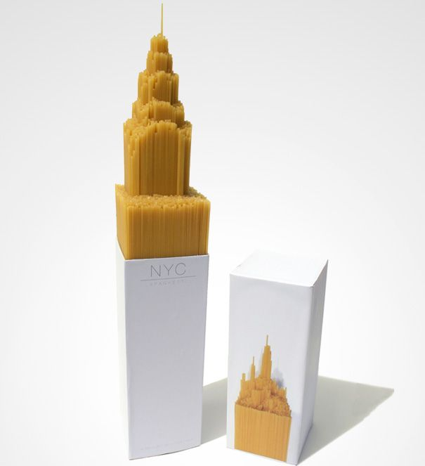 nyc spaghetti - original packaging idea created by pyramid like step at base of box
