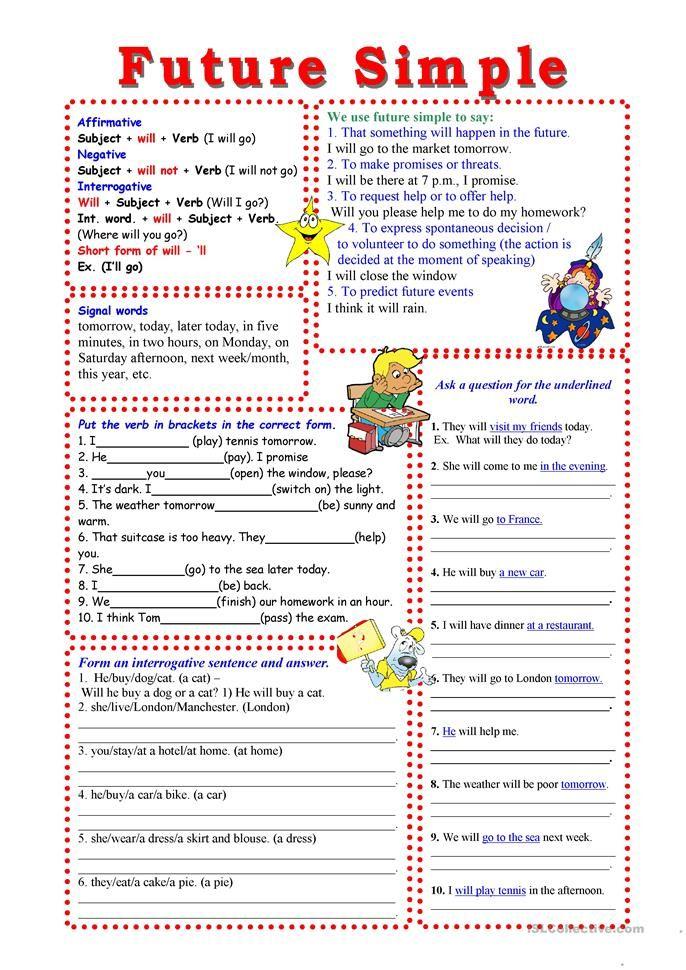 Future Simple - English ESL Worksheets Easy English Grammar, Teaching  English Grammar, English Writing Skills