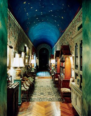 The 18th Duchess of Alba Spain's  painted hallway leading to her private quarters in her castle.