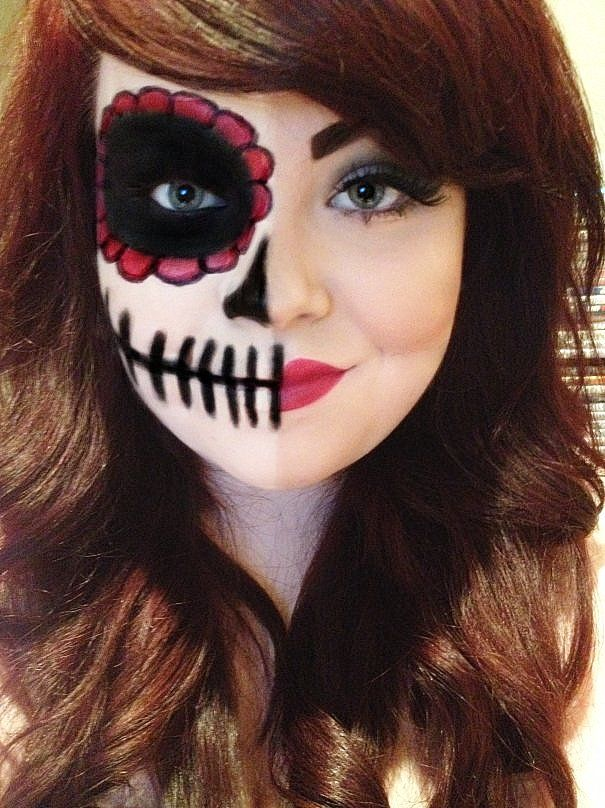 candy skull half face makeup - Google Search