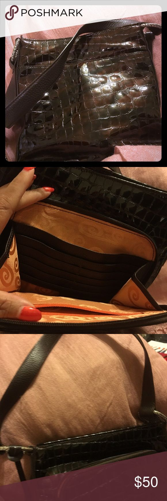 Authentic Brighton Purse Genuine leather croc bag. Dark brown with short strap.  Clean inside.  No signs of wear inside or out.  Outside wallet organizer Brighton Bags Shoulder Bags