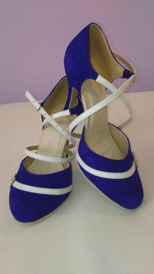 Model Diana exkluzivní kůže královská modrá + pravá kůže bílá