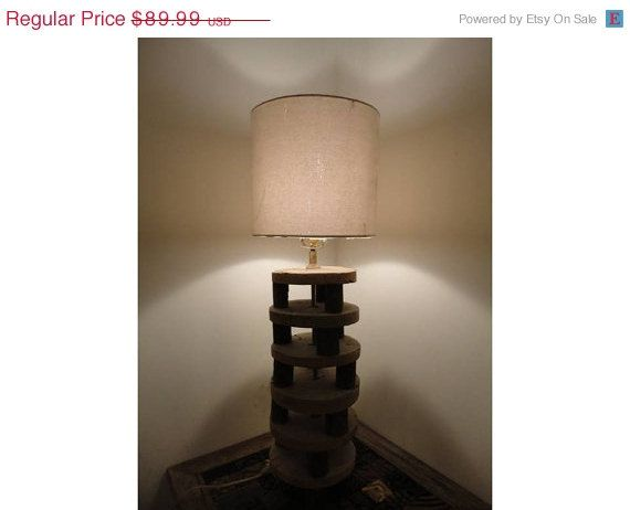 Recycled Handmade Table Lamp in Vintage Decor by MatureSourcing, $77.39