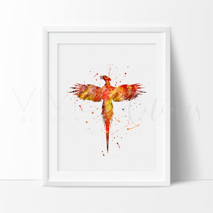 Harry Potter Phoenix Watercolor Art. This art illustration is a composition of digital watercolor images and silhouettes in a minimalist style.