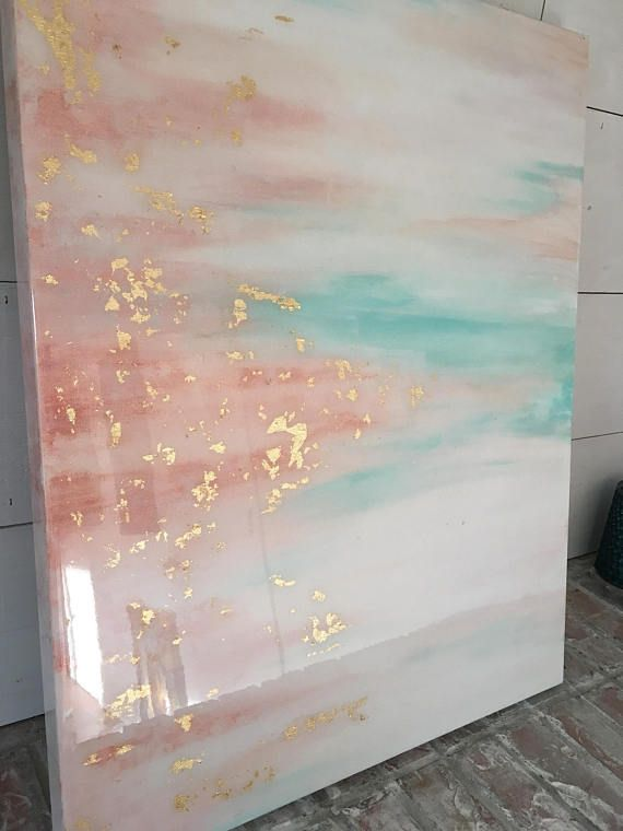 SOLD teal and rose pink epoxy resin abstract painting