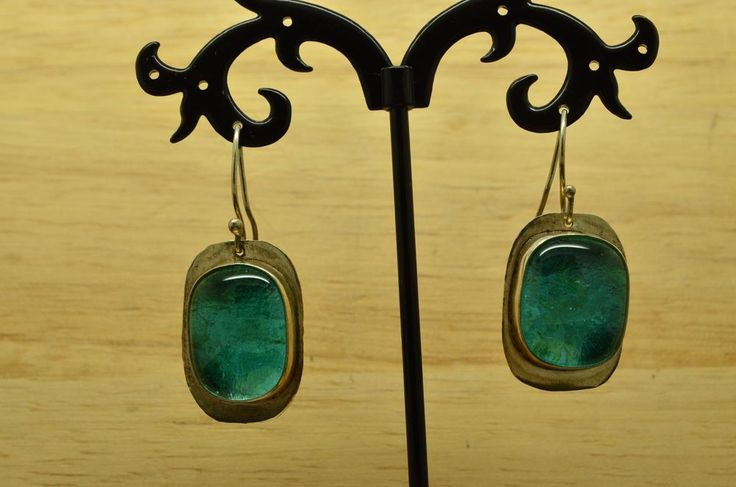 925 STERLING SILVER CUSHION SHAPED BLUE DICHROIC GLASS FISHHOOK EARRINGS #X20126 #Unbranded #DropDangle