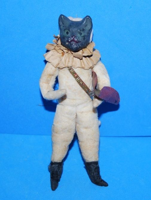 Antique German Cotton Cat Puss in Boots Ornament