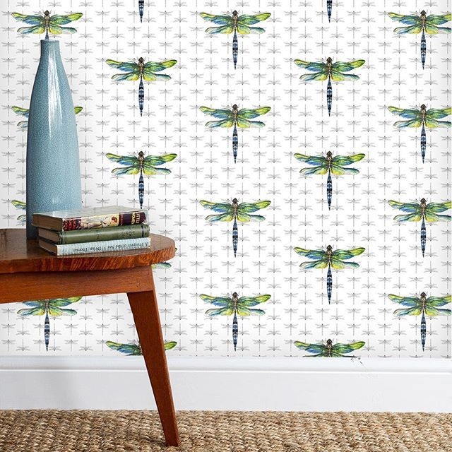 New Dragonfly luxury wallpaper. [link in bio] . . . . . #inspohome #dragonfly #wallpaperwednesday #interiorforinspo #patterndesign #surfacepatterndesign #exposeme #flora #fauna #nature #artforwalls #featurewall #greens #blues #rachelreynoldstextiles #natureinspires