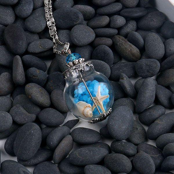 D.m. ручной стеклянный пузырек ожерелье морская звезда песчаный пляж в крошечных стеклянных бутылок кулон миниатюрный террариум ожерелье купить на AliExpress