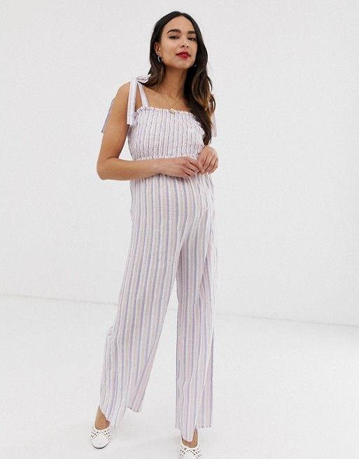 853e8ae3bf904 Wild Honey Maternity jumpsuit with shirred bodice in stripe | ASOS