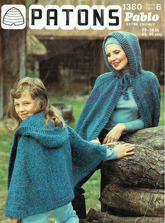 PDF Vintage Ladies Womens Girls Pixie Hood Cape Cloak Knitting
