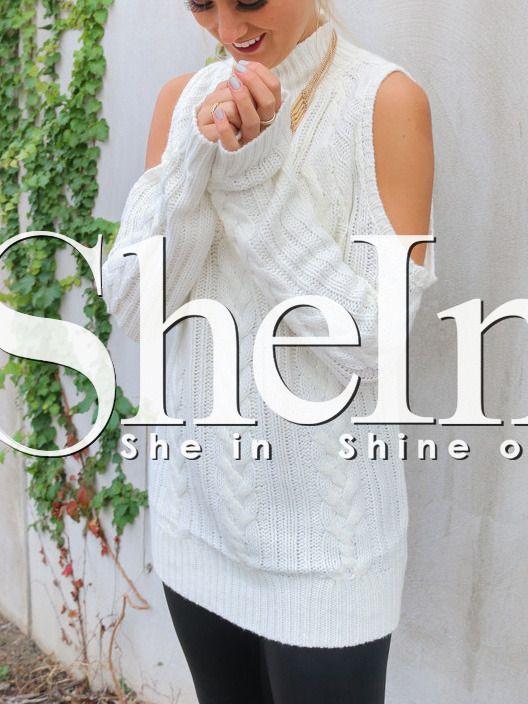 Jersey cuello alto hombro frío-(Sheinside)