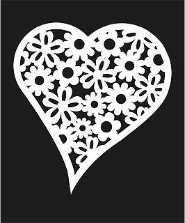 Šablona Květinové srdce 2, 20 x 30 cm, plast