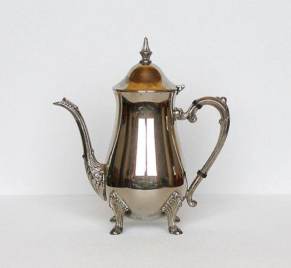 Vintage Silver Coffee Pot Sheridan Silver Plate Over Copper Teapot via Etsy & 133 best Vintage u0026 Antique Glassware images on Pinterest | Antique ...