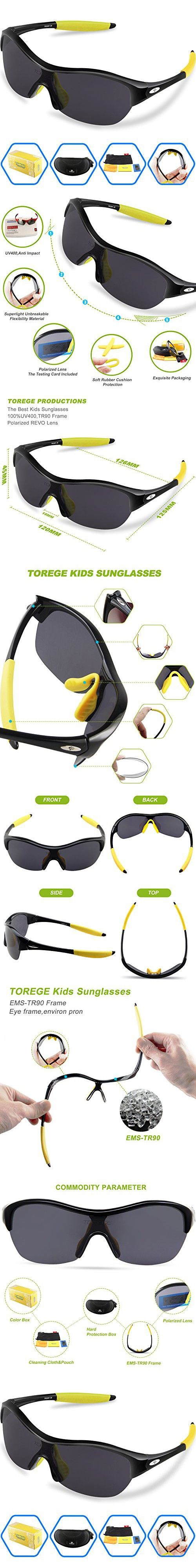 Torege Tr90 Flexible Kids Sports Sunglasses Polarized Glasses for Boys Girls Age 3-15 Trk001 (Black&yellow)